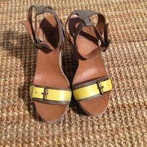 LUCKY BRAND SUEDE WEDGE SILVIA SANDALS
